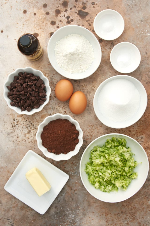 ingredients for Double Chocolate Zucchini Brownies