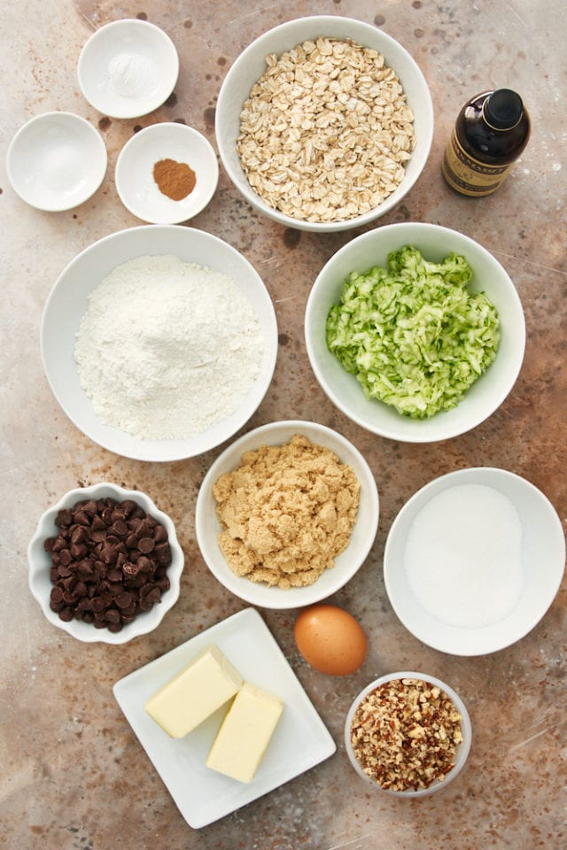 ingredients for Zucchini Oatmeal Chocolate Chip Cookies