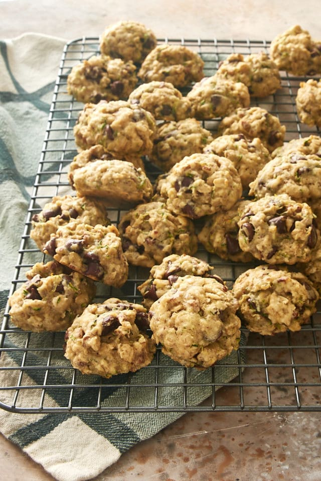 Zucchini Oatmeal Chocolate Chip Cookies on a wire cooling rack