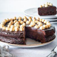 chocolate hazelnut cake with a slice taken out