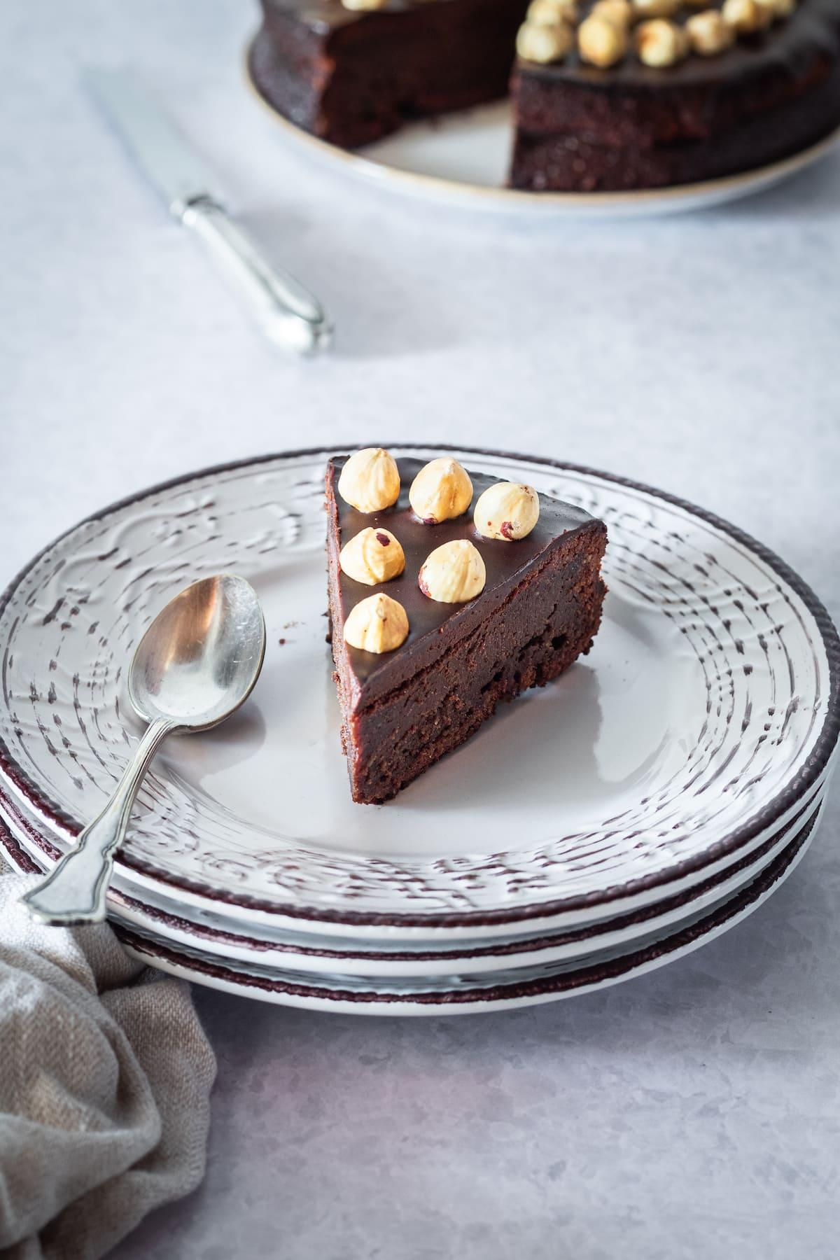 small slice of chocolate hazelnut cake