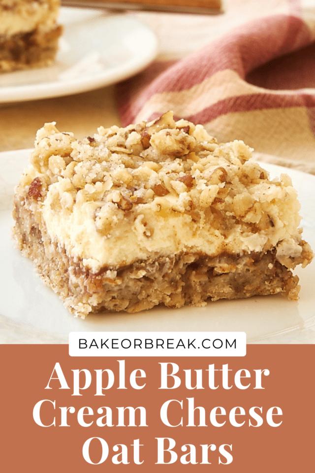 Apple Butter Cream Cheese Oat Bars bakeorbreak.com