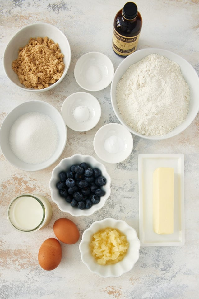 ingredients for Pineapple Blueberry Muffins