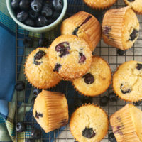overhead view of blueberry muffins on a wire rack