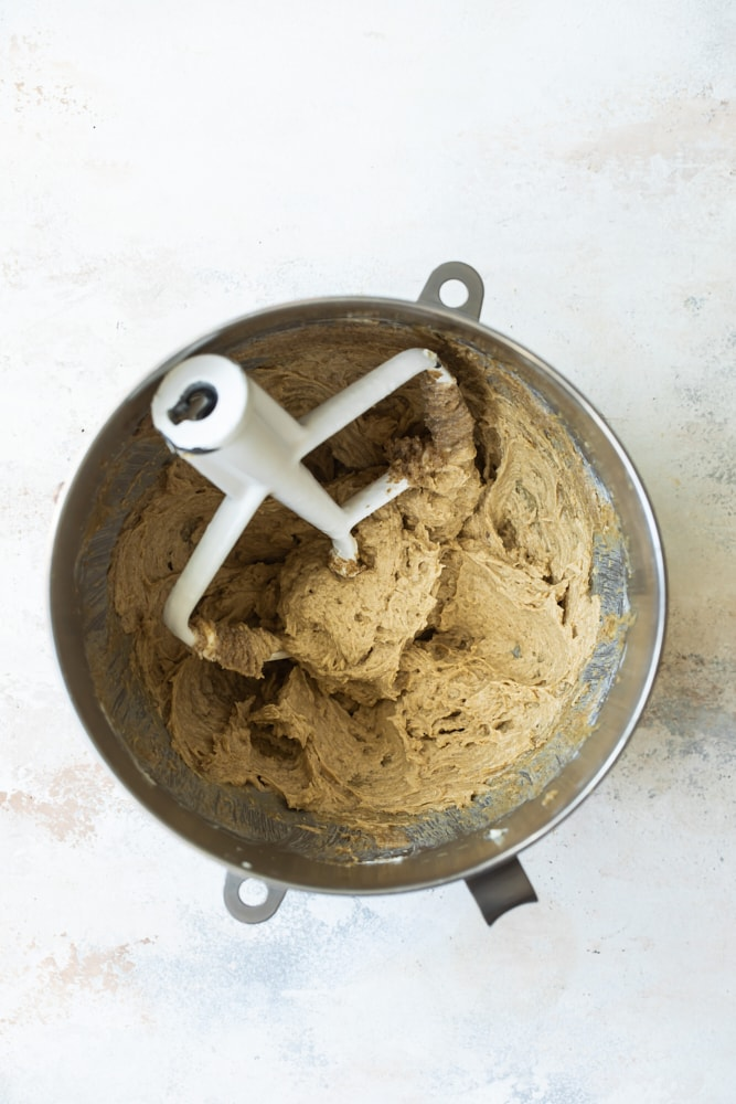 mixing bowl with coconut cookie dough