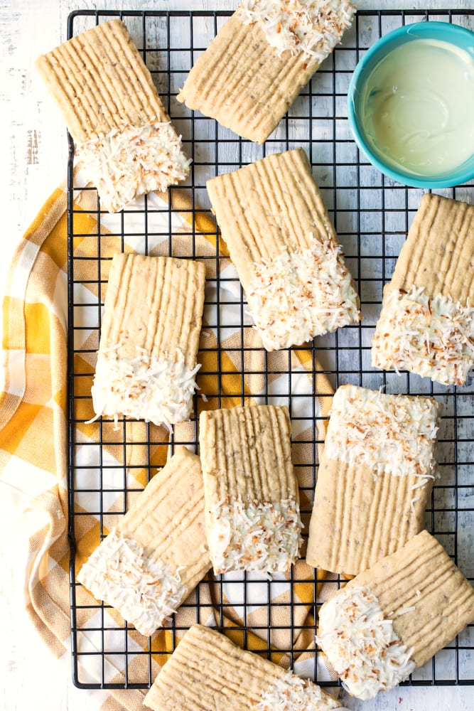 toasted coconut washboard cookies on a wire rack
