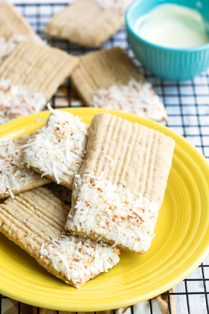 coconut washboard cookies on a yellow plate