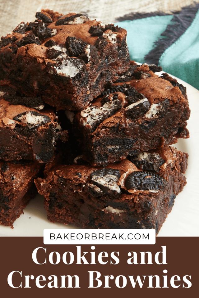 Fudgy Cookies and Cream Brownies bakeorbreak.com