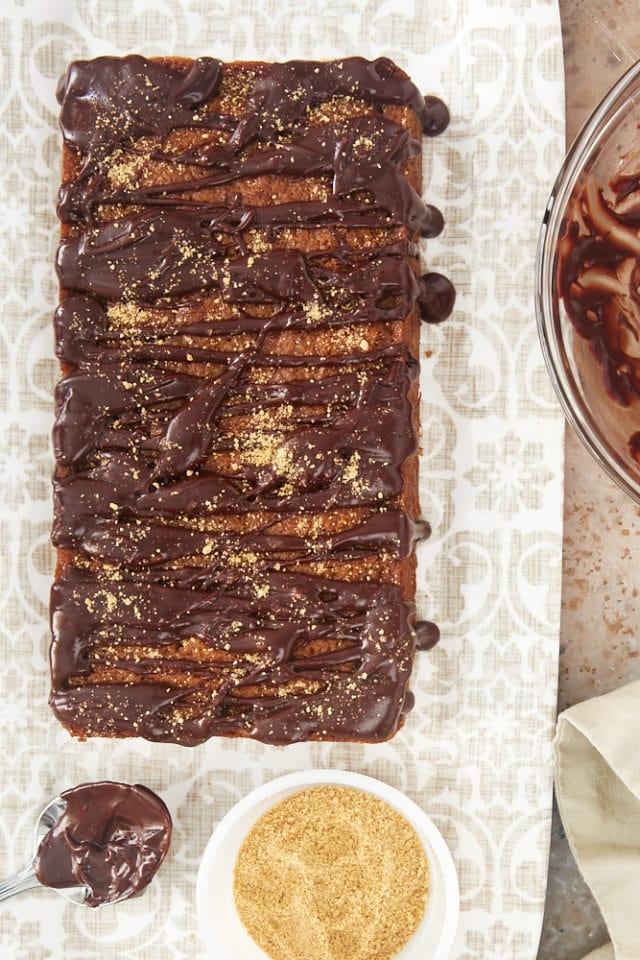 freshly glazed Graham Cracker Cake