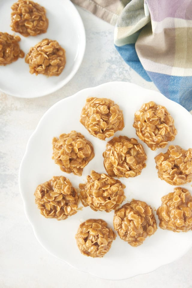 overhead view of no bake peanut butter oatmeal cookies on a white pedestal