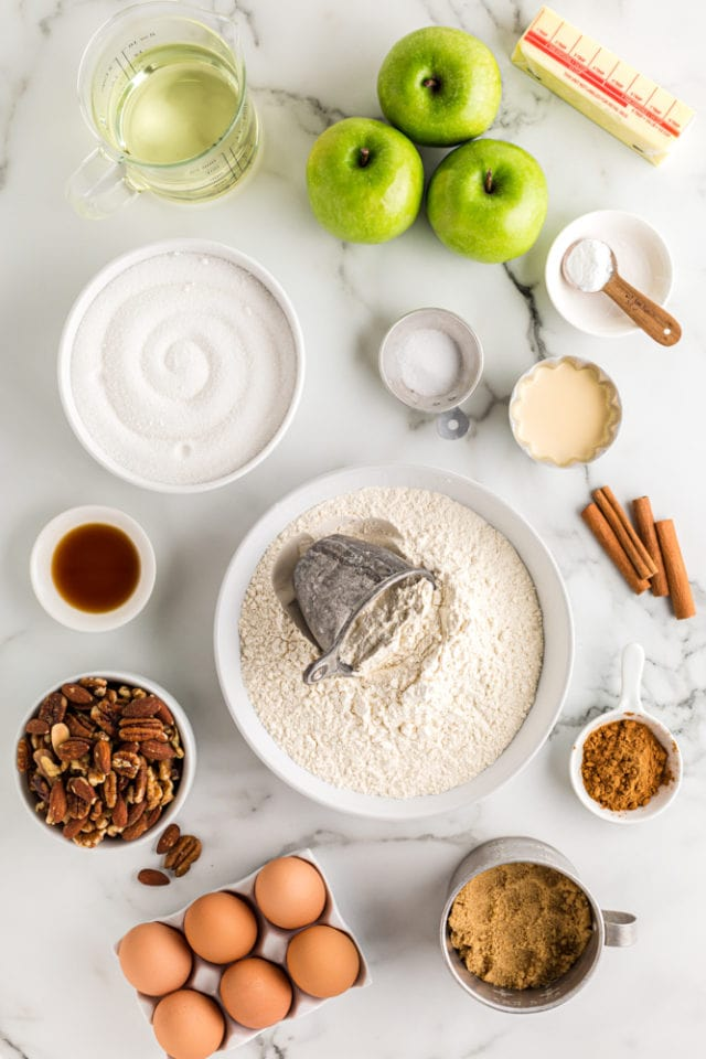 ingredients for Apple Spice Cake with Caramel Glaze