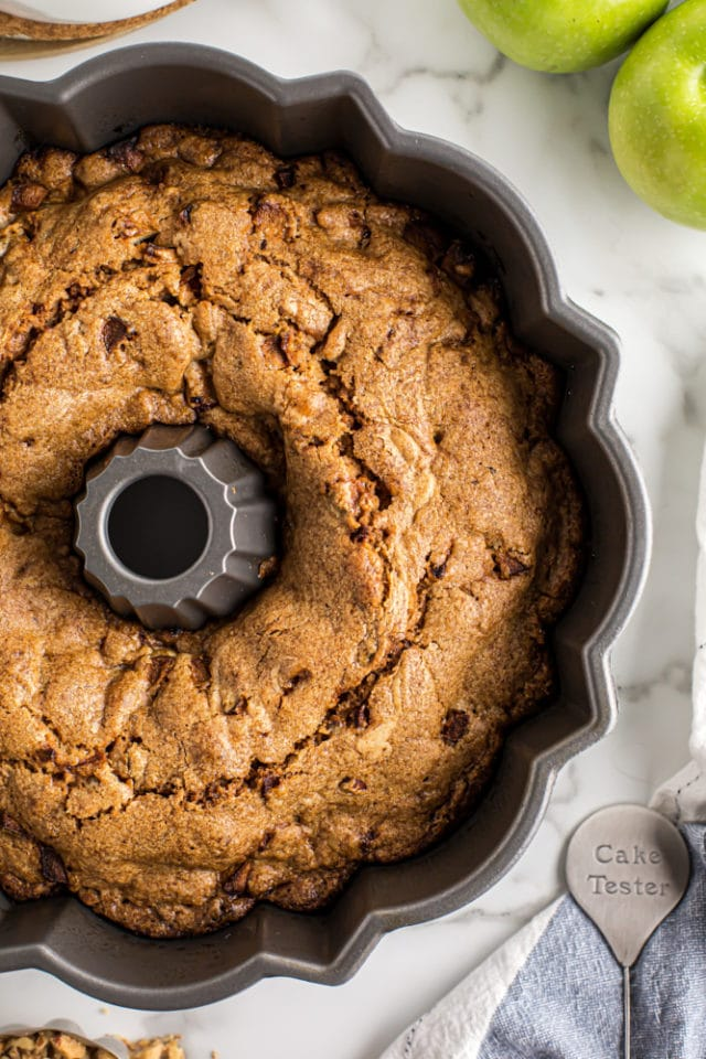 overhead view of Apple Spice Cake in a Bundt pan