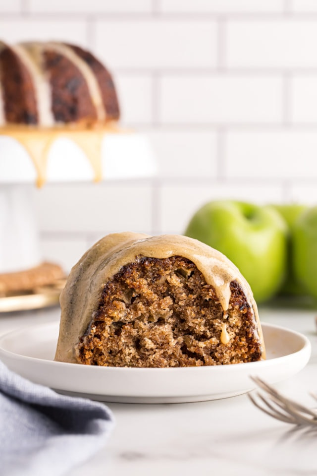 slice of Apple Spice Cake on a white plate