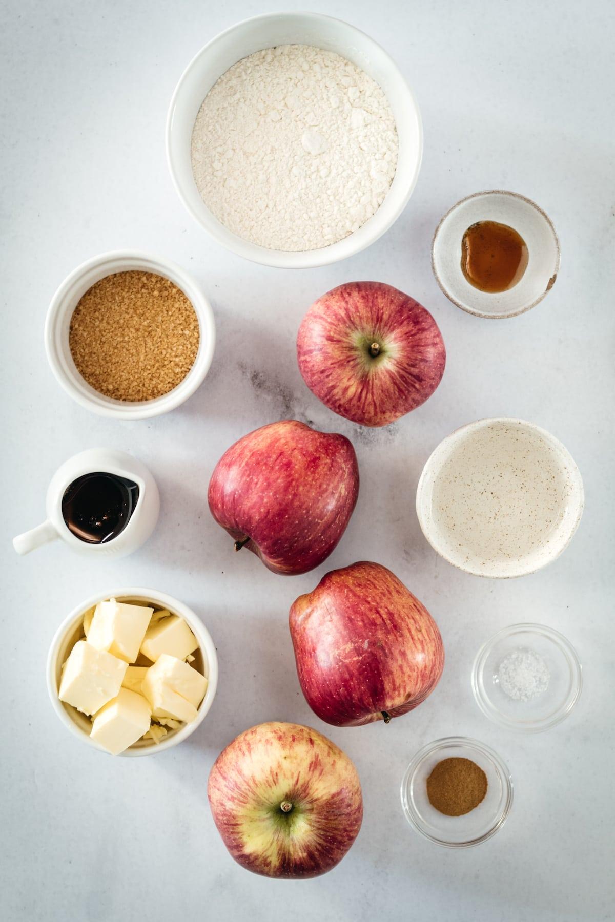 Overhead shot of Mini Caramel Apple Pie ingredients