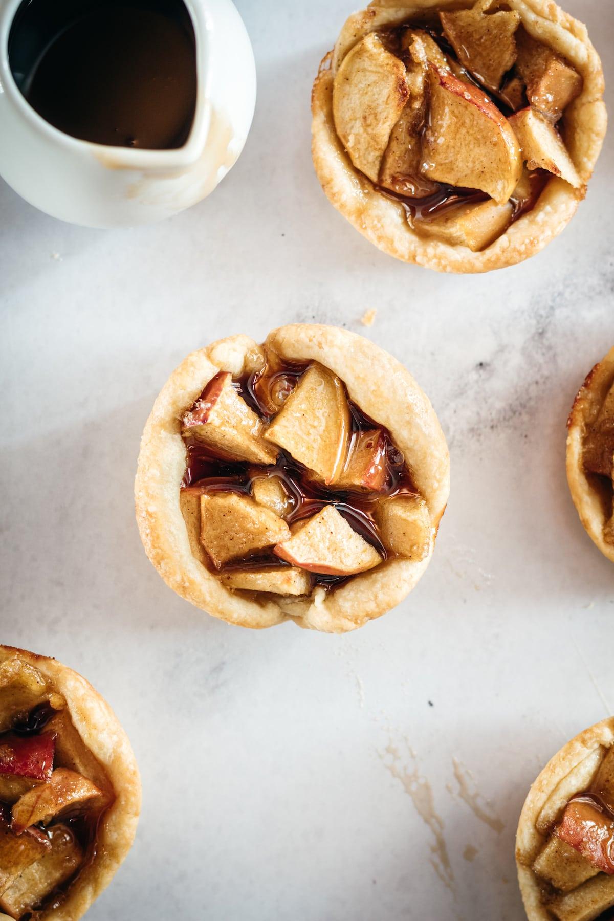 Overhead closeup of Mini Caramel Apple Pies