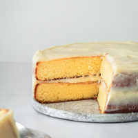 Caramel Cake with Caramel Cream Cheese Frosting with slices removed