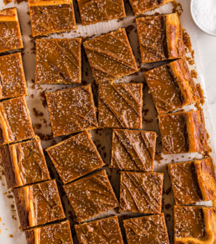 overhead view of sliced Dulce de Leche Cheesecake Bars