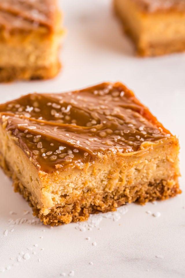 sliced Dulce de Leche Cheesecake Bar