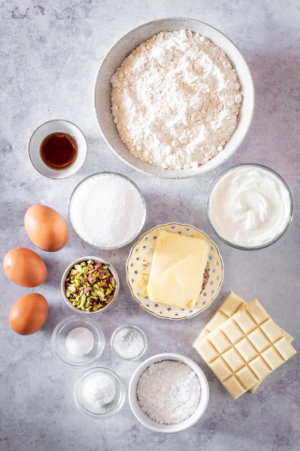 Overhead shot of Pistachio Cake ingredients