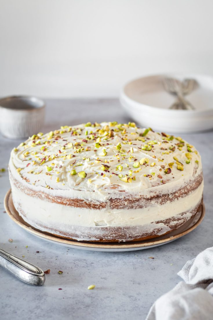 Whole Pistachio Cake with White Chocolate Frosting