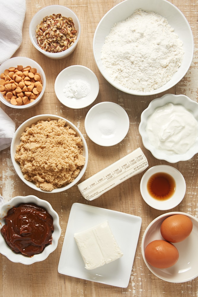overhead view of ingredients for Brown Sugar Snack Cake with Dulce de Leche Frosting