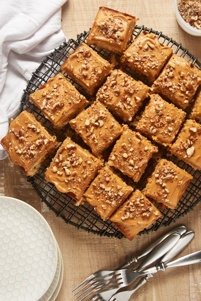 overhead view of frosted Brown Sugar Snack Cake on a wire rack