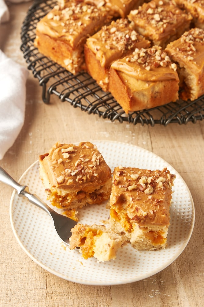 slices of Brown Sugar Snack Cake on a white and beige plate