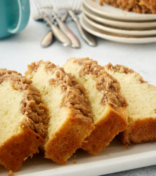 slices of Sour Cream Coffee Cake on a white tray