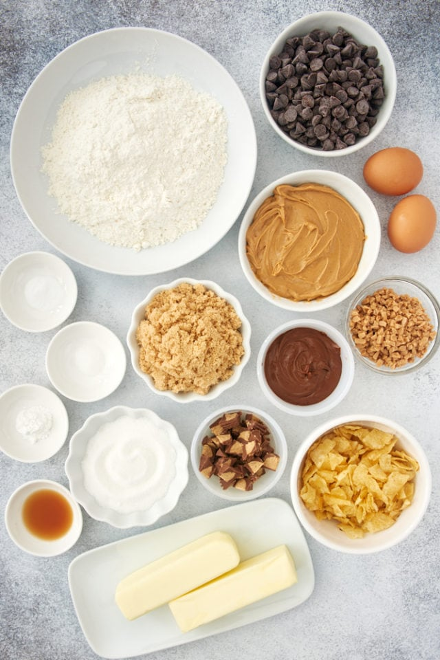 ingredients for Nutella Peanut Butter Cookies