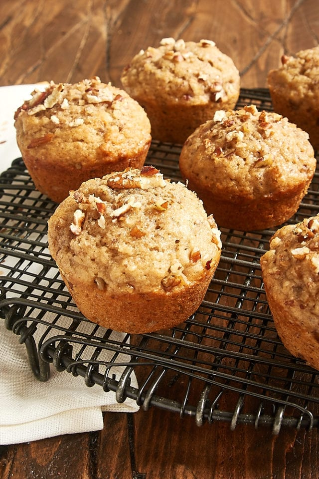spiced pecan muffins on a wire rack