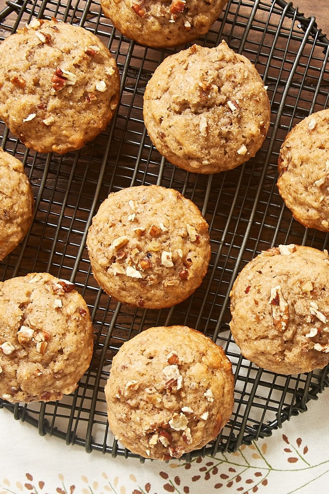 overhead view of Pecan Spice Muffins cooling on a wire rack