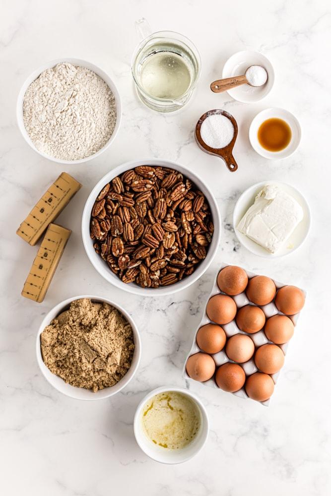 ingredients for Deep-Dish Pecan Pie