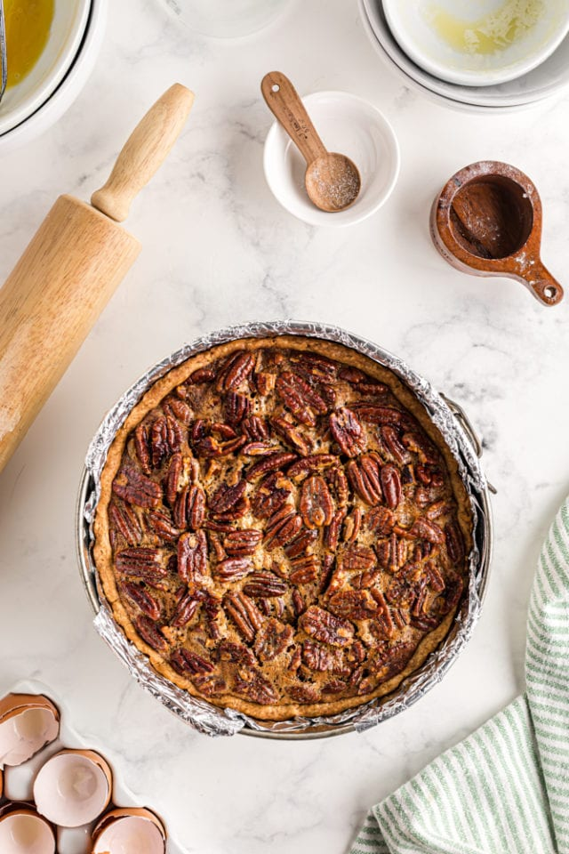 overhead view of freshly baked Deep-Dish Pecan Pie in a springform pan