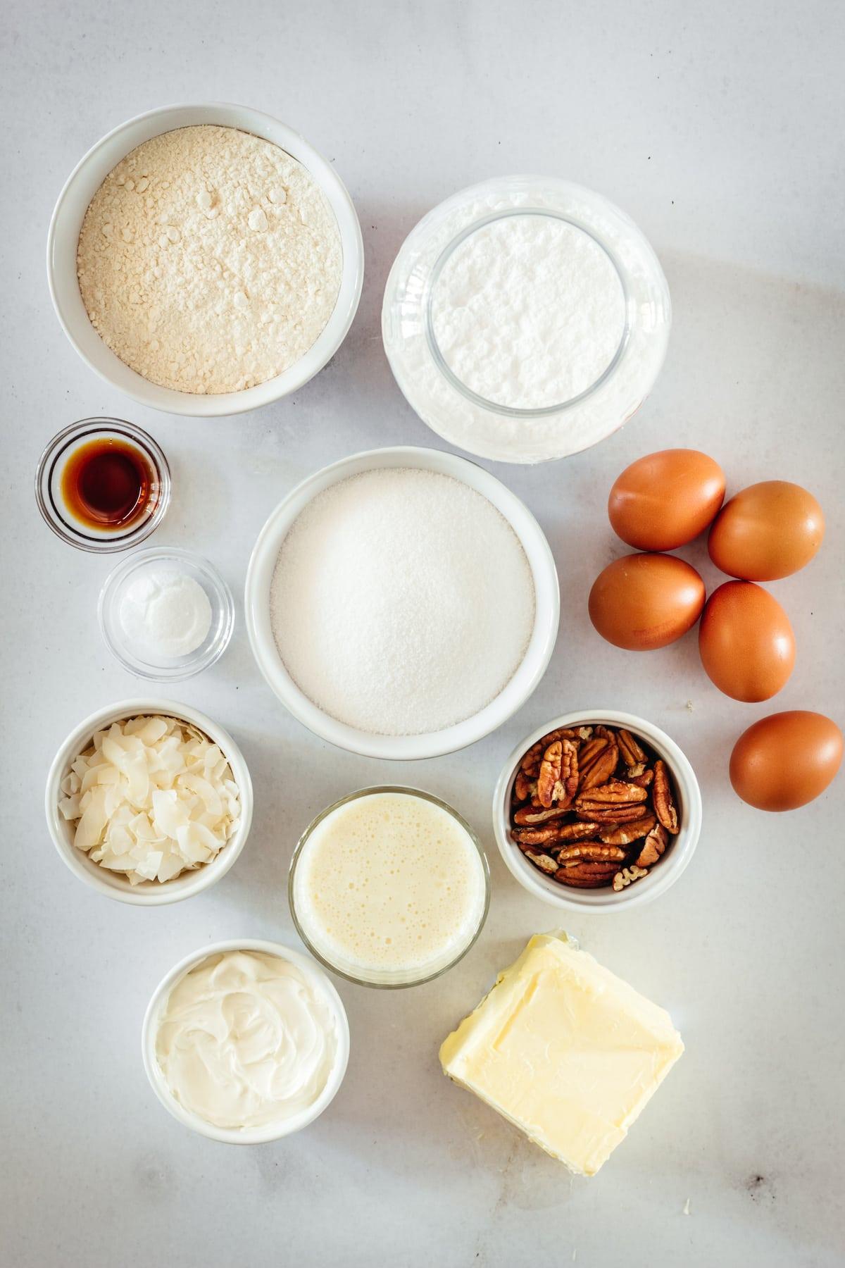 Overhead shot of ingredients for Italian Cream Cake