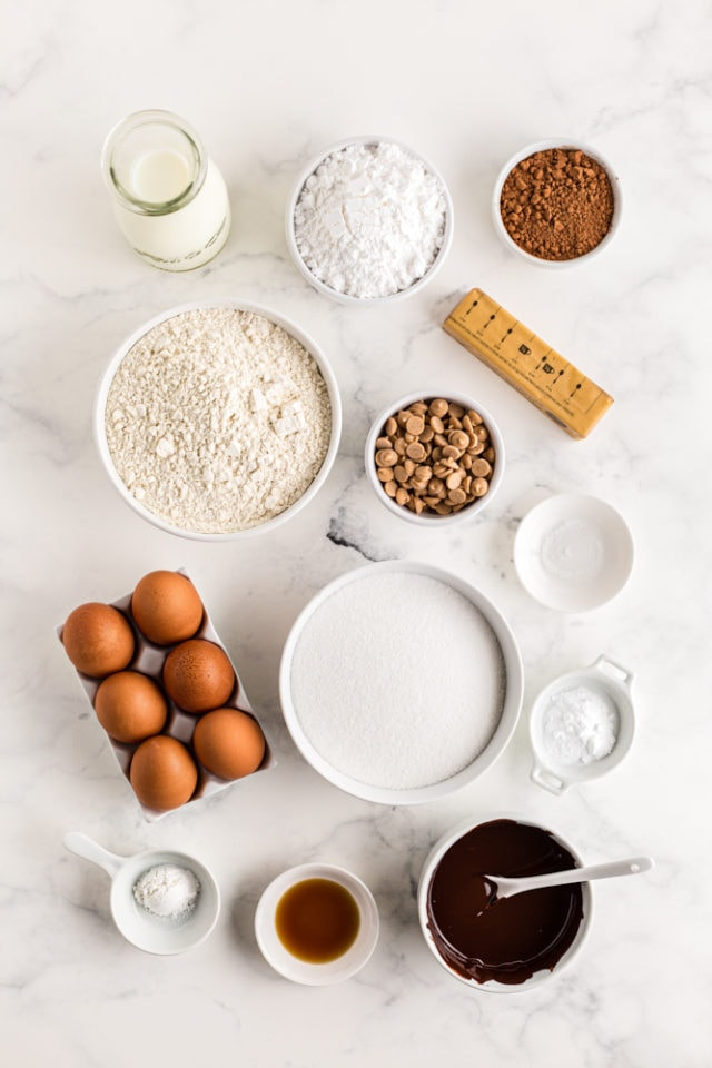 ingredients for Mini Chocolate Bundt Cakes