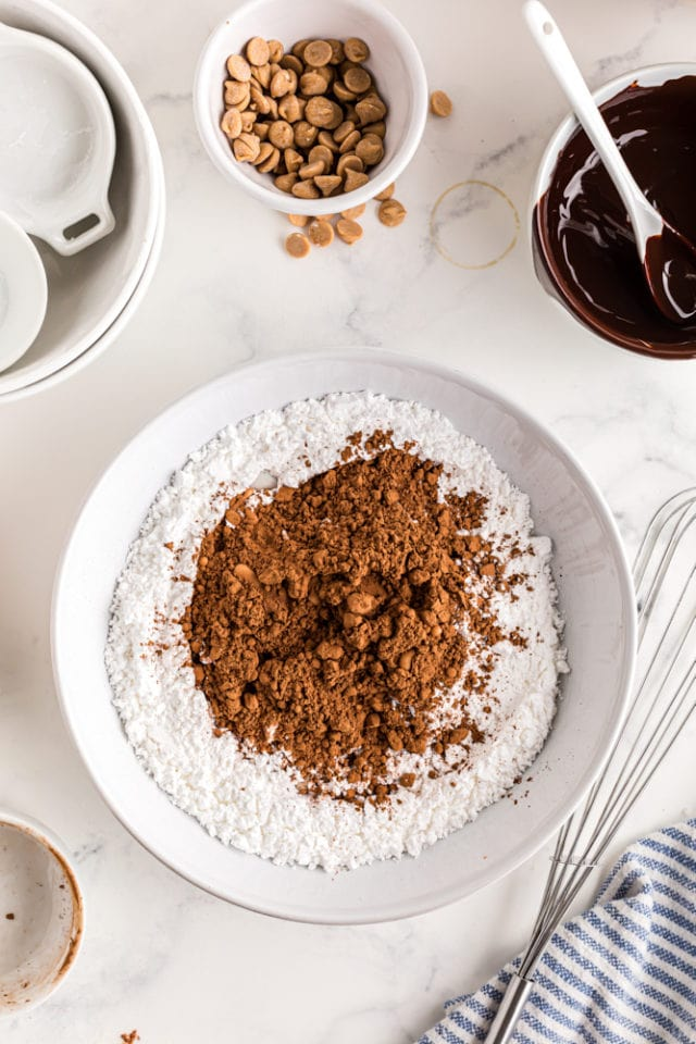 confectioners' sugar and cocoa powder in a white mixing bowl