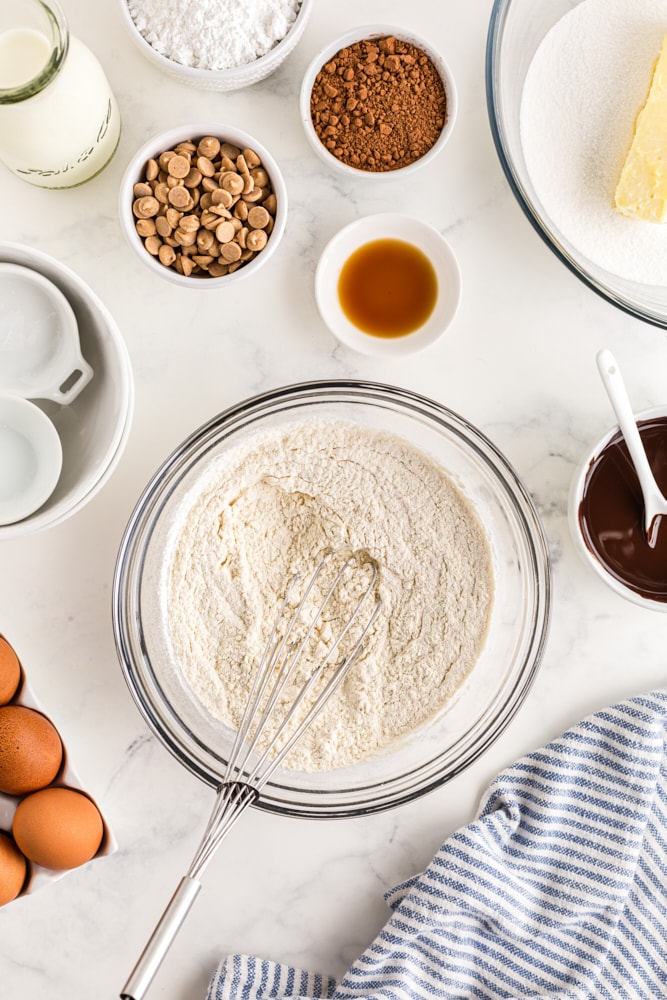 overhead shot of dry ingredients for Mini Chocolate Bundt Cakes