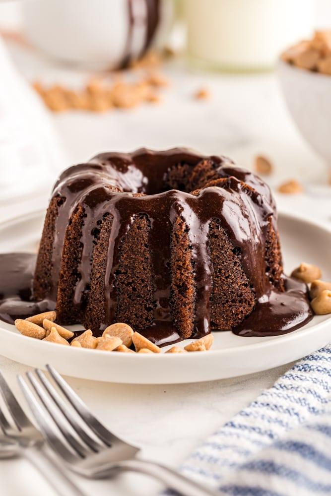 a Mini Chocolate Bundt Cake on a white plate
