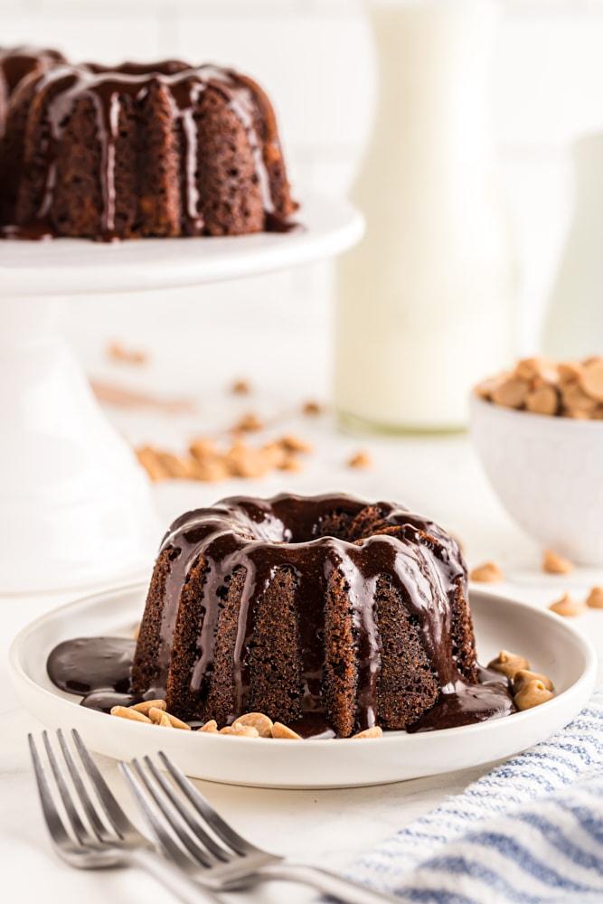 Mini Chocolate Bundt Cake on a white plate