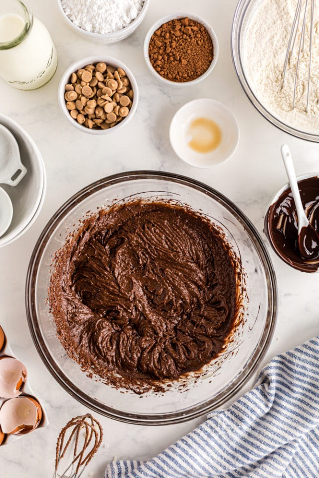 overhead shot of mixed wet ingredients for chocolate bundt cake