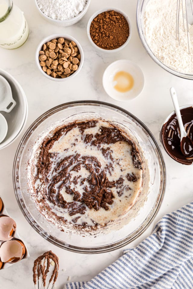 milk added to chocolate cake batter